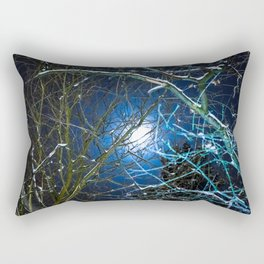 Blue Snow Moon Glow Rectangular Pillow