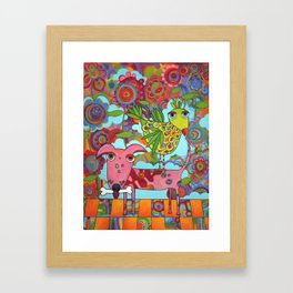 Bird on Dog Framed Art Print