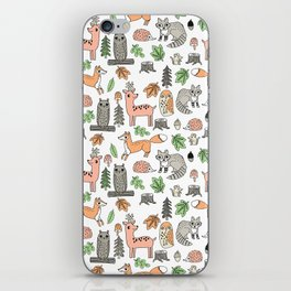 Woodland foxes rabbits deer owls forest animals cute pattern by andrea lauren iPhone Skin