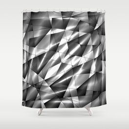 Exclusive mosaic pattern of chaotic black and white fragments of glass, metal, glare and ice floes. Shower Curtain