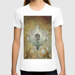 Wonderful tribal dragon on vintage background T-shirt