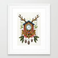 wall clock Framed Art Prints featuring Clock-wall by Kaifa studio