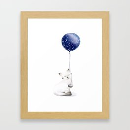 Cat With Balloon Framed Art Print