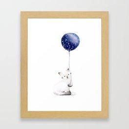 Cat With Balloon Framed Art Print