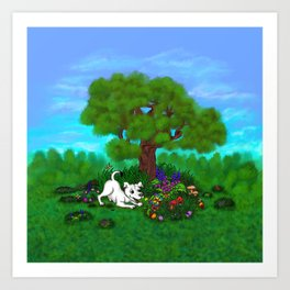 Easter - Spring-awakening - Puppy Capo and Butterfly Art Print