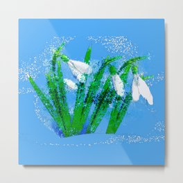 Digital Watercolor snowdrops Metal Print