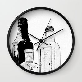 Drawing of Antique Bottles Black & White Wall Clock