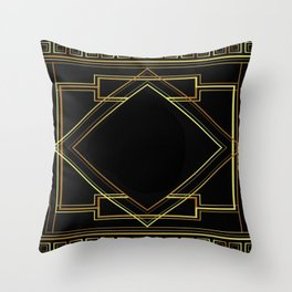 art deco gatsby black and gold lines geometric pattern Throw Pillow