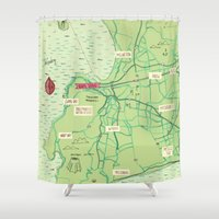 maps Shower Curtains featuring Maps - Cape-Town by DRIEHOEK
