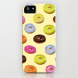 Glazed watercolor donuts on yellow iPhone Case