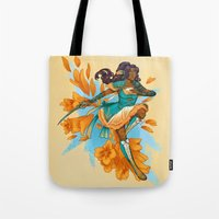magical girl Tote Bags featuring Magical Girl Gladiolus by Anna Landin