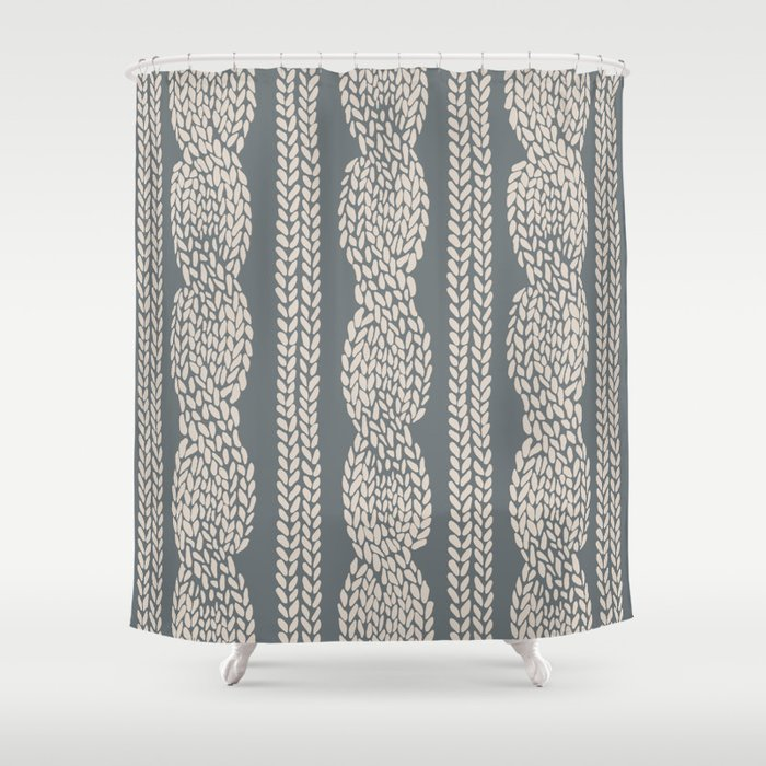 Cable Knit Grey Shower Curtain By Projectm