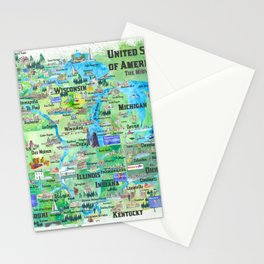 USA Midwest States Travel Map MN WI MI IA KY IL IN OH MO With_Highlights Stationery Cards