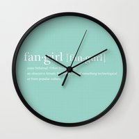 fangirl Wall Clocks featuring Fangirl by Chichina Chic