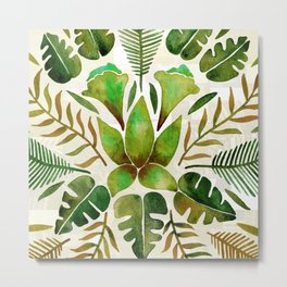Tropical Symmetry – Olive Green Metal Print