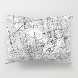 Toronto White Map Pillow Sham