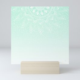 Elegant white and mint mandala confetti design Mini Art Print