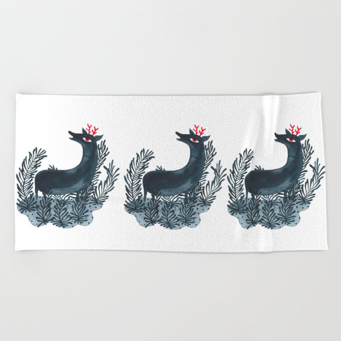 Deep sea deer Beach Towel