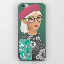 Girl with red hat portrait iPhone Skin