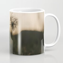 Single, wilted dandelion against blurry natural background during sunset. Coffee Mug