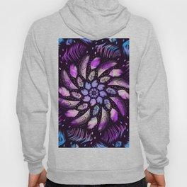 Feathers Mandala Dreamcatcher - Iridescent colors on black background Hoody