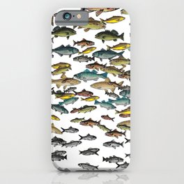 Fish Beach Nautical multicolor and black and white iPhone Case