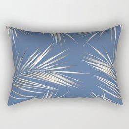 White Gold Palm Leaves on Ocean Blue Rectangular Pillow