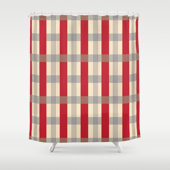 Red Striped Plaid Shower Curtain By Bndesigns