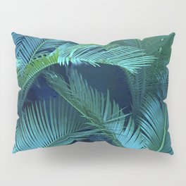 Blue Jeweled And Vibrant Green Palm Leaves Pillow Sham