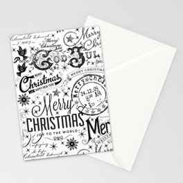 Black and White Christmas Typography Design Stationery Cards