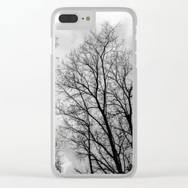 Creepy black and white trees Clear iPhone Case