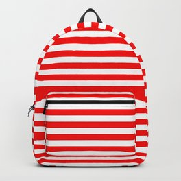 Original Berry Red and White Rustic Horizontal Tent Stripes Backpack