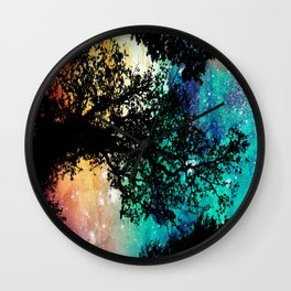 Black Trees Colorful Space Wall Clock