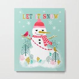 Holiday Snowman by Andrea Lauren  Metal Print
