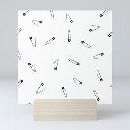 Black and white clothes pin pattern Mini Art Print