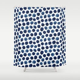 Large Indigo/Blue Watercolor Polka Dot Pattern Shower Curtain