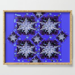 BLUE WINTER HOLIDAY SNOWFLAKES PATTERN ART Serving Tray