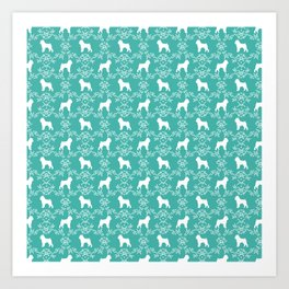 Brussels Griffon floral silhouettes dog breed turquoise gifts Art Print
