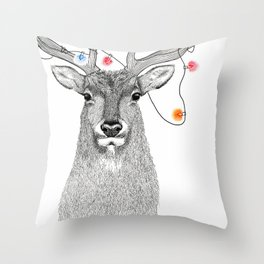 Elk Stippling Drawing with Christmas tree Light on his Antlers Throw Pillow