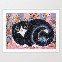 Fat Black Cat Art Print