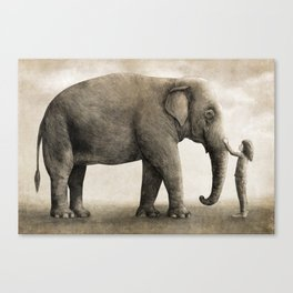 One Amazing Elephant - sepia option Canvas Print