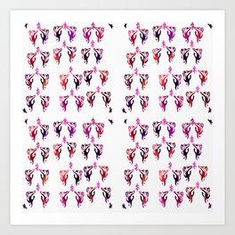 red purple cats Art Print