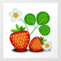 strawberry Art Prints featuring Strawberry by LaDa