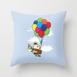 Flying Balloon Boy Throw Pillow