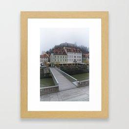 Ljubljana Castle In The Fog Framed Art Print