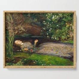 Ophelia Painting by John Everett Millais Serving Tray