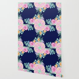 light pink peonies with navy background Wallpaper