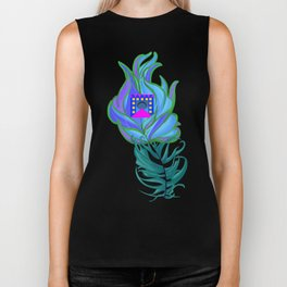 21st Century Peacock Feather Biker Tank