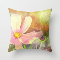 cosmos Throw Pillows featuring Cosmos by V. Sanderson / Chickens in the Trees