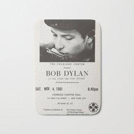 Vintage 1961 Bob Dylan Carnegie Hall Folk Festival Concert Poster Bath Mat